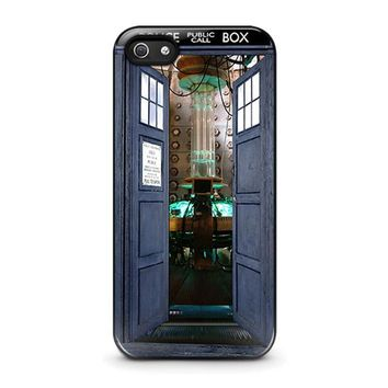 dr who tardis open the door iphone 5 5s se case cover  number 1