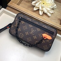 LV Louis Vuitton MONOGRAM CANVAS ZIPPER HAND BAG