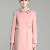Pink Beaded Collar Single Breasted Woolen Coat