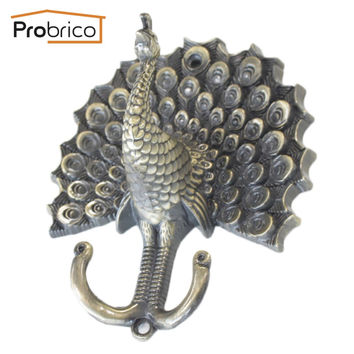 Probrico 2 Pcs Peacock Shape Coat Hook Zinc Alloy Curtain Tiebacks Antique Bronze Wall Decor Vintage Cloth Hat Hanger Hl01Lab