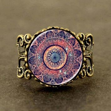 New Steampunk The latest design art gift Splendor of Color Kaleidoscope Mandala Glass Cabochon Ring jewelry