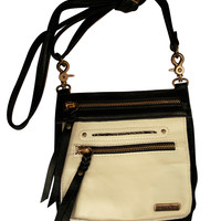 Tasca Leather Purse - Black & Bone with Antique Brass