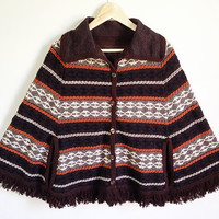 Vintage Woven Knit Poncho -- Sweater Cape with Fringe -- 70s Poncho with Buttons -- Pumpkin Orange & White Geometric Stripes -- S M L