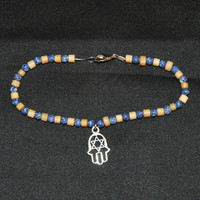 8 1/2 Inch Wood and Blue Stone Beads Ankle Bracelet Or Bracelet With Silver Tone Hamsa Hand Charm, Beach Fun, Gift Idea for Him or Her