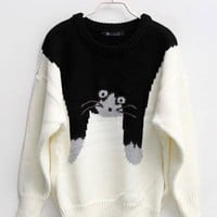 White Slim Cat Cartoon Images Red Sweater$40.00