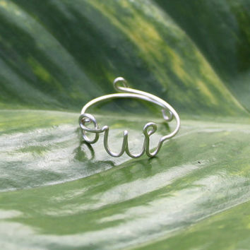 OUI Ring Silver Wire Adjustable Yes I Do by FabulousWire on Etsy
