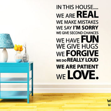 rta211 Decor Design Sign In This House Rulles Family Love Quote Bedroom Modern Fashion Dorm Wall Decal Vinyl Sticker Decals Art