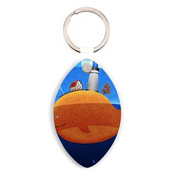 Lighthouse At The Whale Back Hardboard Football Keychain - Football Custom Keychains