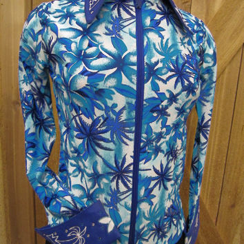 1849 Ranchwear Rail Riding Women's Western Shirt with Blue Palm Trees and Flowers
