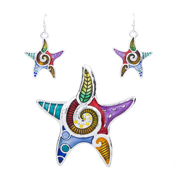 MS1504256 Fashion Jewelry Sets High Quality Gold Plated Multicolor Starfish Design Woman's Necklace Set Wedding Jewelry
