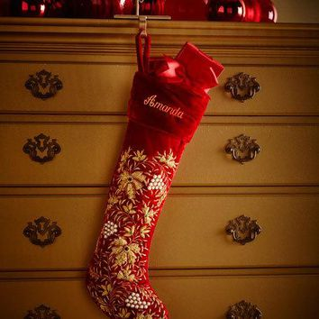 Sudha Pennathur Red Velvet Golden Leaf Christmas Stocking