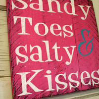 Sandy Toes and Salty Kisses Beach Sign Pallet Sign Distressed Wood Shabby Chic Decor Beach House Decor Handpainted Sign Pink Sign