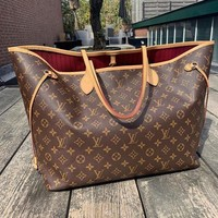 LV Louis Vuitton Fashion Women Leather Tote Handbag Shoulder Bag And Wallet Two Piece A Set