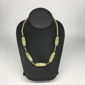 "1 strand, 2mm-37mm, Green Nephrite Jade Oval Tube Beaded Necklace,20"", NPH101"