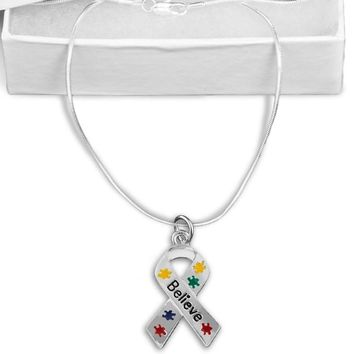 Puzzle Piece Believe Ribbon Necklace for Autism Awareness