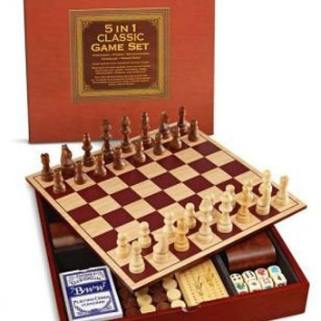 5 in 1 Classic Game Set, Wooden Board, Chess, Checkers, Cribbage, Backgammon, P
