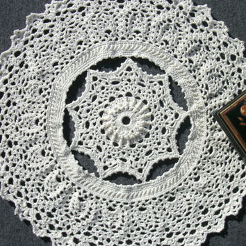 White textured doily Light beige crochet doily 12 inches Beige doily Lace doily White table topper Lace table topper Round doily Gift idea