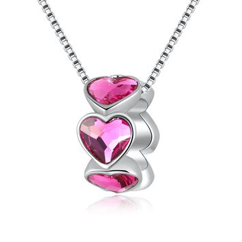"""Swarovski Element Necklace Red Hearts Ring Beads Pendant with Swarovski Crystals, 18"""", Gifts for Women, Thanksgiving & Christmas Gifts"""