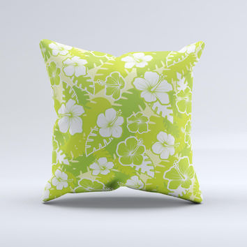 Green Hawaiian Floral Pattern V4 Ink-Fuzed Decorative Throw Pillow