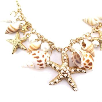 Large Starfish Seashells and Pearls Linked Charm Bracelet