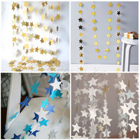 Colorful Star-Shape Hanging Paper Garlands Flora String Party Home Holiday Decor