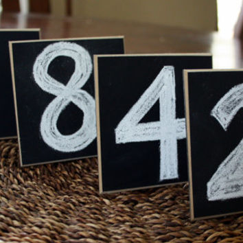 """Set of 24 - Chalkboard Place Cards - Wedding Signs - Table Markers - 4"""" x 4"""" Square - Distressed Edges"""