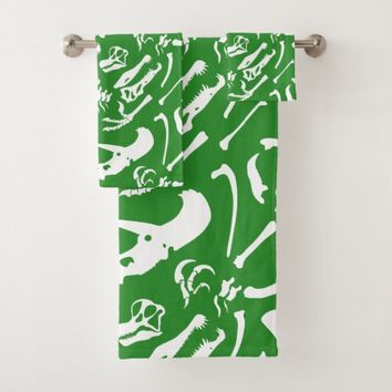 Dinosaur Bones (Green) Bath Towel Set
