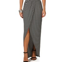 Sale-wrap Stripe Maxi Skirt