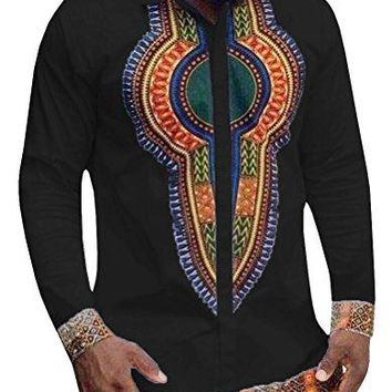 Men's Long Sleeve African Printed Button Down Shirt