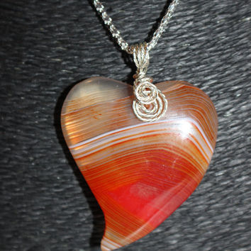 Silver Wire-Wrapped (Red, Orange) Heart Shaped Agate Pendant