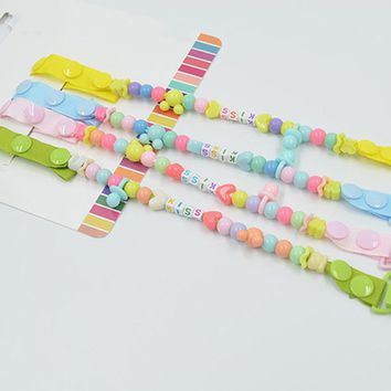 Baby Pacifier Clip Handmade Funny Colourful Beads Dummy Clip Baby Soother Holder Baby Kids Pacifier Chain