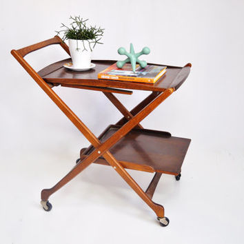 Mid Century Rolling Bar Cart Collapsible With Tray And Handle