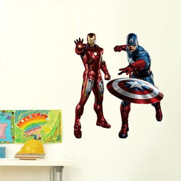 Home Decor 3D Wall Stickers The Avengers Iron Man Captain America Pattern For Kid's Room Decoration Removable Mural Art Decals