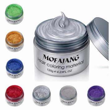 Color Hair Wax Styling Pomade Silver Grandma Grey Temporary Hair Dye Disposable Fashion Molding Coloring Mud Cream H0213