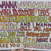 Wanted Lyric Drawing by TaylorandEmilysEtsy on Etsy