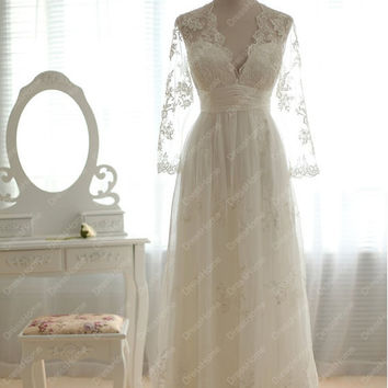 Sleeve Lace Wedding Dress - Cheap long Wedding Dress / Empire Lace Bridal Dress / Deep V-neck Lace Wedding Dress