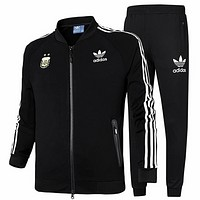 ADIDAS Clover 2018 autumn new baseball jacket sports running training pants two-piece suit Black
