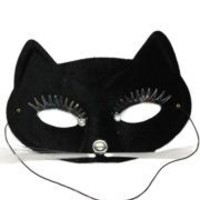 Black Half Face Cat Masquerade Mask