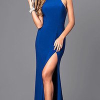 High-Neck Faviana Prom Dress with Train and Cut Outs