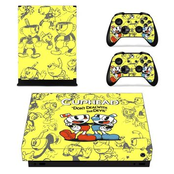 X0001 Game accessories Skin Sticker for Microsoft Xbox One X Console and 2 Controllers skins Stickers for XBOXONE X Enhanced