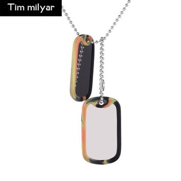 Tim Milyar Men Choker Dog Brand with Rubber Shell Stainless Steel Army Soldiers 60CM Chain Punk Necklace Handmade For Men TMN031