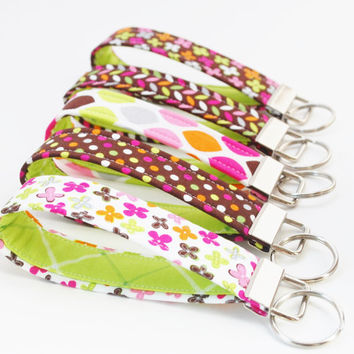 Key Chain Set, Wristlet Key Fobs,  Set of 5 , Hot Pink, Lime, and Dark Brown