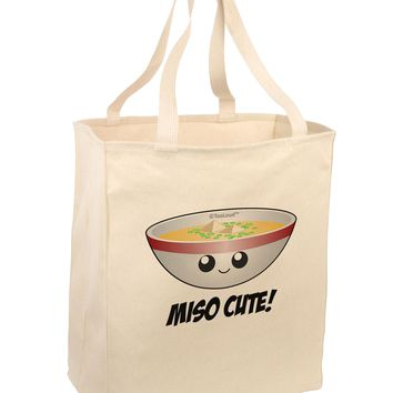 Miso Cute - Cute Miso Soup Bowl Large Grocery Tote Bag by TooLoud