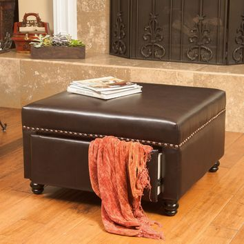 Cressida Square Brown Leather Storage Ottoman