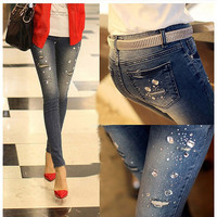 2016 new Autumn winter Rhinestone Beading Jeans woman ripped hole jeans pants women denim pencil pants female trousers G0504