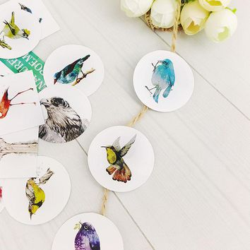 40pcs/lot Birds of nature mini box paper sticker Decoration DIY Scrapbooking Sticker Stationery office kawaii label stickers