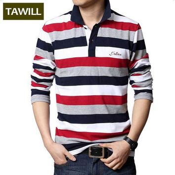 ESBON TAWILL 2017 Letters Embroidered Men Strip Polo Shirt Turn-down Collar Casual Cotton Polo Shirt Red Gray Green Asian Size M-5XL