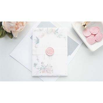 Pink and Green Floral Vellum and Wax Seal Wedding Invitation - DEPOSIT