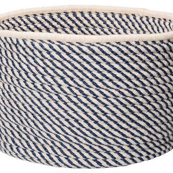 "18"" Twisted Natural Wool Basket, Navy, Storage Baskets"