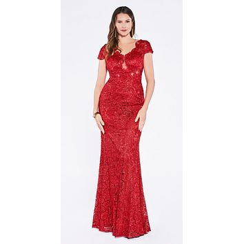 Red Lace Applique Cap Sleeves Sheath Formal Dress